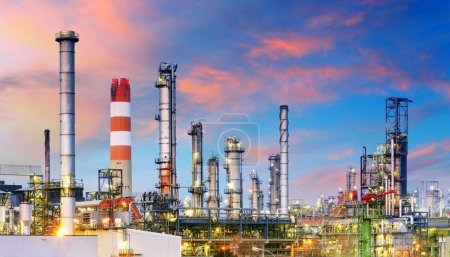 Photo for Petrochemical plant at night, oil and gas industrial - Royalty Free Image