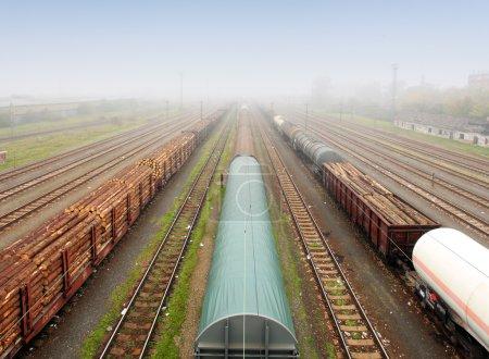 Photo pour Station de fret avec trains - Transport de marchandises - image libre de droit