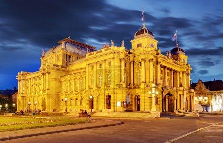Croatian National Theate at night - Zagreb