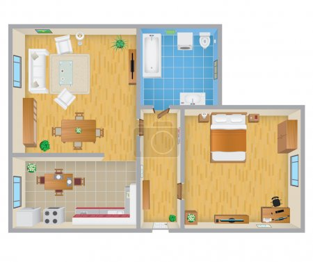 Illustration for Detailed apartment plan vector EPS10 illustration. - Royalty Free Image