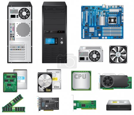 Illustration for Detailed computer parts set, vector EPS 10. - Royalty Free Image