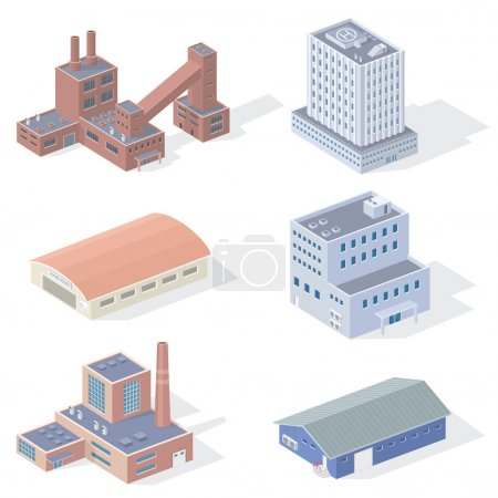Illustration for Isometric industrial buildings with shadows on white background, vector EPS 10. - Royalty Free Image