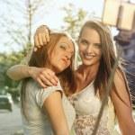Summer outdoor portrait of two friends fun girls t...