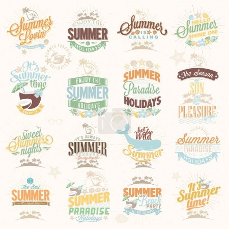 Photo for Retro elements for Summer calligraphic designs . Vintage ornaments . tropical paradise, sea, sunshine, weekend tour, beach vacation, bon voyage, adventure labels set - Royalty Free Image
