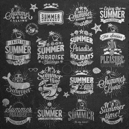 Retro elements for Summer calligraphic designs . Vintage ornaments . tropical paradise, sea, sunshine, weekend tour, beach vacation, bon voyage, adventure labels set