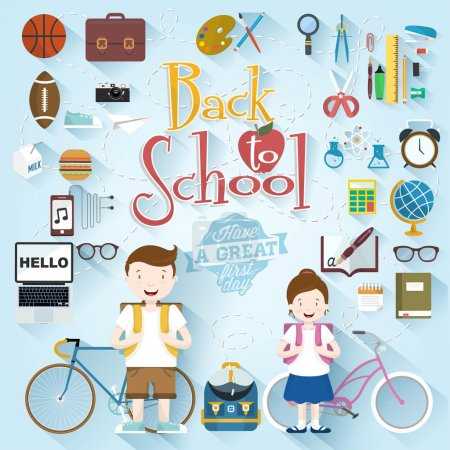 Back To School Typographical Background With Flat Icon Set, Vintage Ornaments, All for the beginning of the school, Concept of the high school object with teaching and learning symbol set