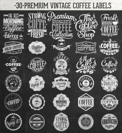 Set Of Vintage Retro Coffee Labels On Chalkboard. Coffee decoration collection . Set of calligraphic and typographic elements styled design, frames, vintage labels.