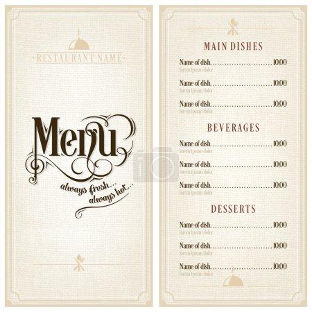 Restaurant or cafe menu design template vintage style. Flourishes calligraphic.