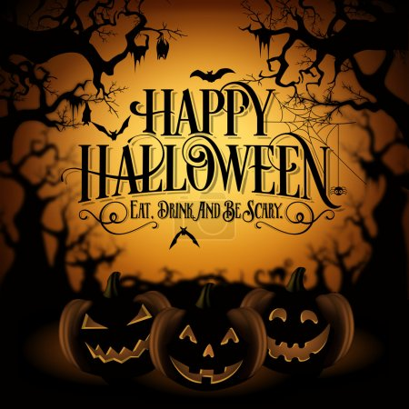 Vintage Happy Halloween Typographical Background With Pumpkins
