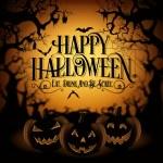 Vintage Happy Halloween Typographical Background W...
