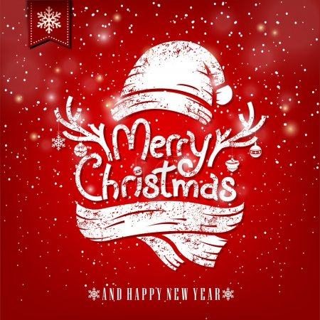 Photo for Christmas Greeting Card With Chalk. Merry Christmas lettering illustration - Royalty Free Image