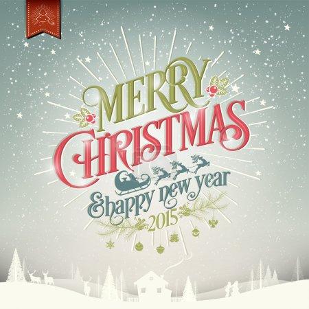 Photo pour Joyeux Noël et bonne année Vintage fond de Noël avec typographie - image libre de droit