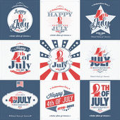 A Set of Nine Vintage Greeting Cards: Happy Independence Day, United States of America, 4th of July, 1776-2014, with fonts