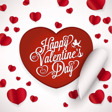 Elegant Valentines Day Card On Red Background