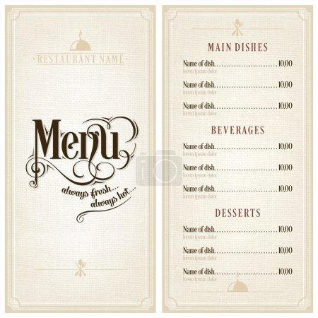 Illustration for Restaurant or cafe menu vector design template vintage style. Flourishes calligraphic. - Royalty Free Image