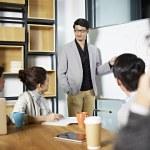Young asian business executive facilitating a disc...