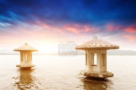 Beautiful the west lake scenery, landscape with su...