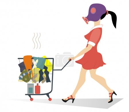Illustration for Girl in the gas mask wheels a trolley with dirty laundry - Royalty Free Image