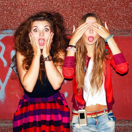 Funny emotional girls having fun