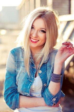 portrait of young pretty sensual blonde