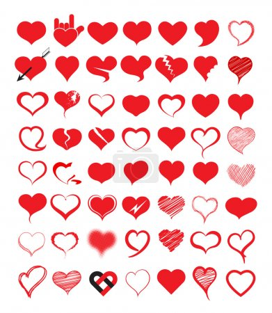 Illustration for Big set of heart. Vector illustration. Can use for printing and about love concept, wedding, valentine, gift, christmas, new year, birth day. - Royalty Free Image