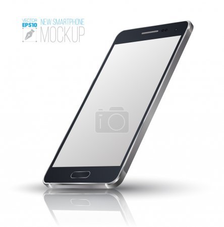 Illustration for New Smartphone perspective realistic mockup. Vector illustration. - Royalty Free Image