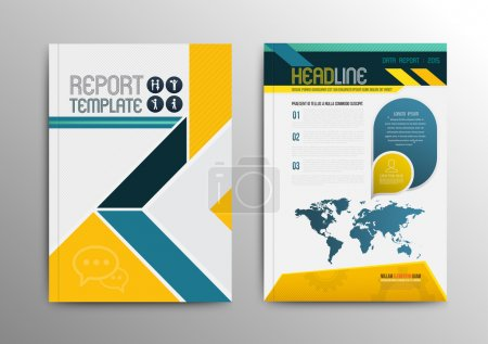 Illustration for Vector brochure template design with world map. Vector illustration. Can use for business brochure. - Royalty Free Image