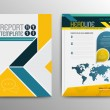 Vector brochure template design with world map. Ve...