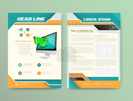 Illustration for Abstract Vector Brochure Template. Flyer Layout. Flat Style. Infographic Elements - Royalty Free Image