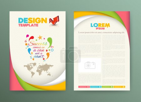 Illustration for Brochure Flyer design Layout template with success comes in a can not a can't. - Royalty Free Image