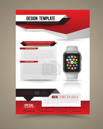 Illustration for Abstract design vector template layout with smart watch for magazine brochure flyer booklet cover annual report in A4 size. Vector illustration. - Royalty Free Image