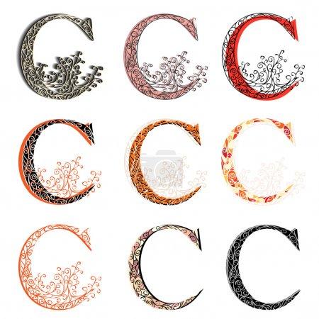 Various combination fishnet letter C.