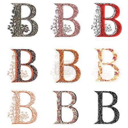 Various combination fishnet letter B.