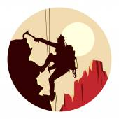 Abstract round logo of alpinists (climbers) with ice ax