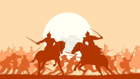Illustration pour Illustration vectorielle horizontale lutte entre deux guerriers sur fond de bataille au coucher du soleil . - image libre de droit