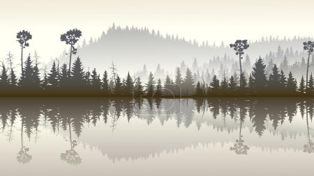 Illustration of forest hills with its reflection in lake.