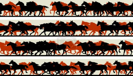 Horizontal banners of silhouette of prancing galloping horses.