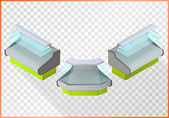 Refrigerated counter vector 3d illustration Shop equipment isometric perspective view