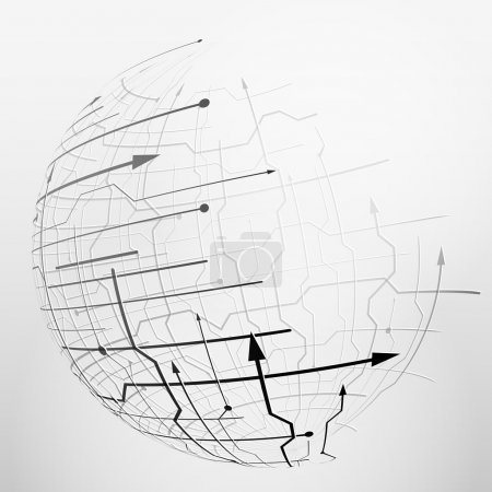 Abstract spherical mesh of geometric lines