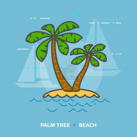 Flat illustration of tropical palm tree against blue background