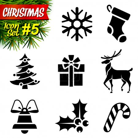 Illustration pour Collection de symboles de nouvelle année. Graphismes vectoriels qualitatifs (EPS-10) pour Noël, le jour de l'an, les vacances d'hiver, le design, le silvester, etc. Il a seulement la couleur unie - image libre de droit