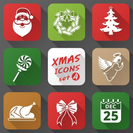 Set of christmas icons in flat style