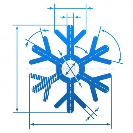 Snowflake symbol with dimension lines