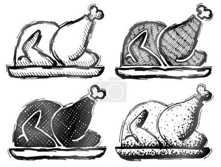 Hand drawn roast turkey