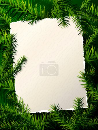 Paper for christmas list against pine branches
