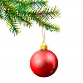 Christmas tree branch with bauble isolated on white