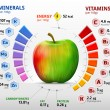 Infographics about nutrients in apple fruit. Quali...