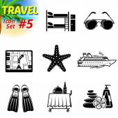 Set of black-and-white travel icons