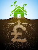Home and money symbol in shape of plant parts Qualitative vector illustration for mortgage green building real estate investment construction sustainability etc It has transparency blending modes masks gradients