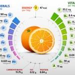 Infographics about nutrients in orange. Qualitativ...